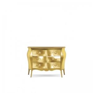 Comò bombato dipinto in oro in stile arte povera. 1311