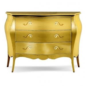 Comò bombato dipinto in oro in stile arte povera. 1251