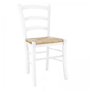 Sedia classica laccato bianco, fondo paglia 1007