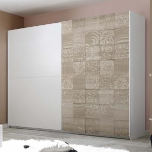 Armadio scorrevole bianco con anta destra serigrafata rovere samoa
