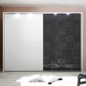 Armadio scorrevole bianco con serigrafie grigio lucido scorrevole Xaos bianco